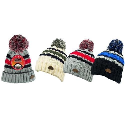 Boys Heat Machine Stripe Bobble Hats