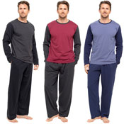 Mens Jersey Long Sleeve Pyjama Set