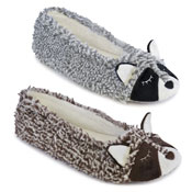 Ladies Soft Fleece Slippers Cat White/Brown