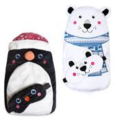 Polar Bear & Penguin Hot Water Bottle With Eye Mask
