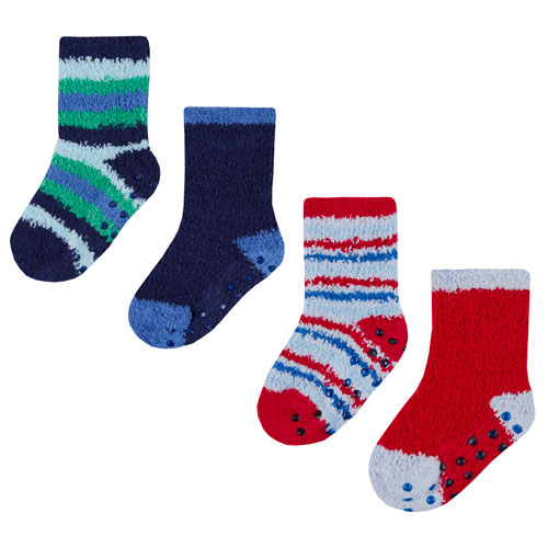 Baby Boys 2 Pack Stripe Cosy Socks With Grippers