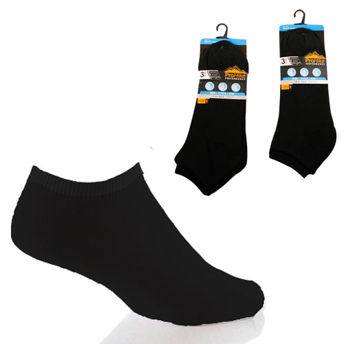 Mens Pro Hike Plain Black Trainer Socks