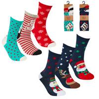 Ladies 3 Pack Xmas Design Socks