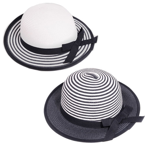 Girls Stripe Straw Wide Brim Hat