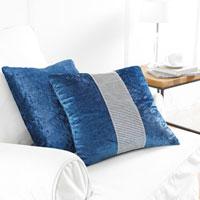2 Pack Blue Diamante Cushion Covers