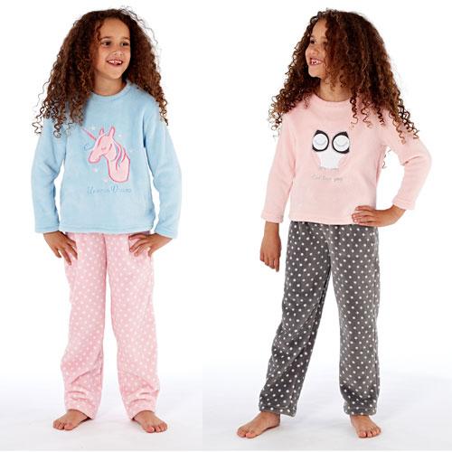 Older Girls Owl & Unicorn Fleece Pyjamas