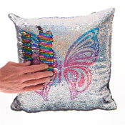Colourful Butterfly Sequin Filled Cushion