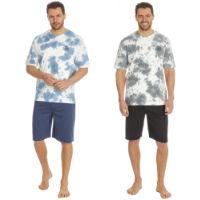 Mens Tie Dye Printed T Shirt And Plain Shorts Set