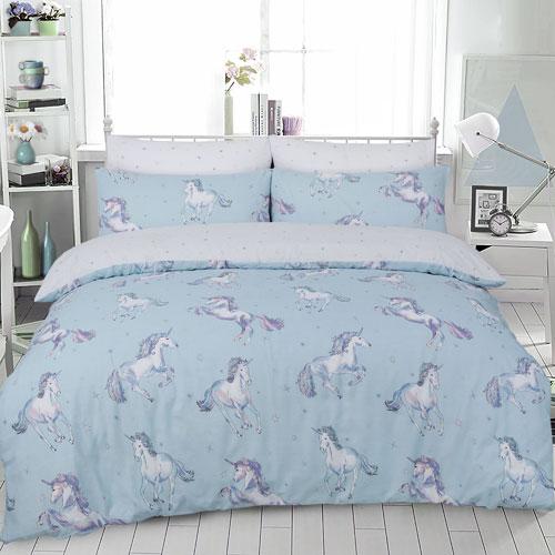 Paintly Unicorn Duckegg Reversible Duvet Set