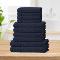 Bear & Panda 10 Piece Cotton Towel Bale Navy Blue