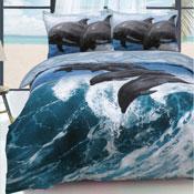Dolphin Waves Blue Reversible Duvet Set