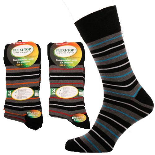 Flexi-Top Non Elastic Diabetic Socks Stripes