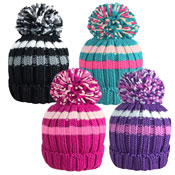 Rockjock Girls Striped Knitted Thermal Hat With Pom Pom