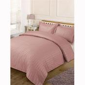 Satin Stripe Duvet Set Vintage Pink