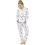 Ladies Printed Slogan Pyjama Set Star