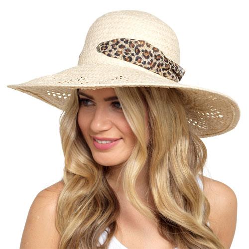 Ladies Floppy Wide Brim Hat With Leopard Ribbon