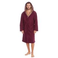 Mens Drop Needle Polar Fleece Gown Burgundy