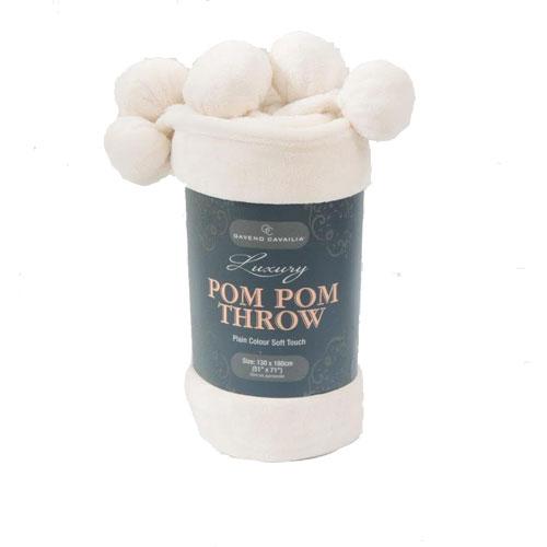 Pom Pom Faux Mink Throw Cream