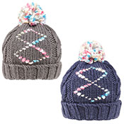Girls Chunky Diamond Print Knitted Bobble Hat