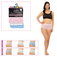 Ladies 3 Pack Pointelle Briefs Pastel