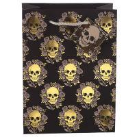 Metallic Skulls And Roses Gift Bag Medium