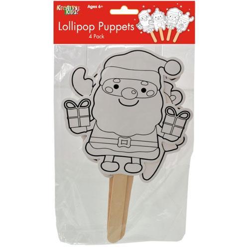 Christmas Lollipop Colour your Own Puppets