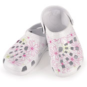 Girls White Glitter Clogs