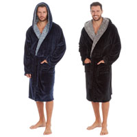 Mens Shimmer Fleece Gown With Sherpa Trim