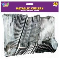 Metallic Cutlery Set 48 Pack