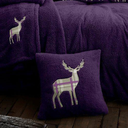Stag Embroidered Soft Teddy Feel Cushion Cover Purple