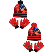 Miraculous Ladybug Childrens Bobble Hat & Gloves Set