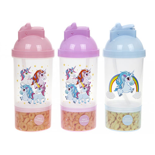Kids Unicorn Straw Reusable Bottle With Snack Compartment