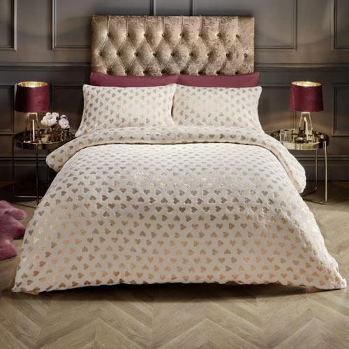 Super Soft Metallic Heart Duvet Set Cream