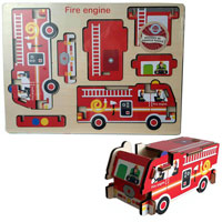 Wood Puzzle - Fire Engine