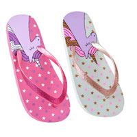 Girls Unicorn Flip Flops