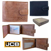 JCB Mens Leather RFID Blocking Wallet Photo Sleeve