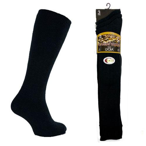 Mens Lycra Lambs Wool Blend Socks