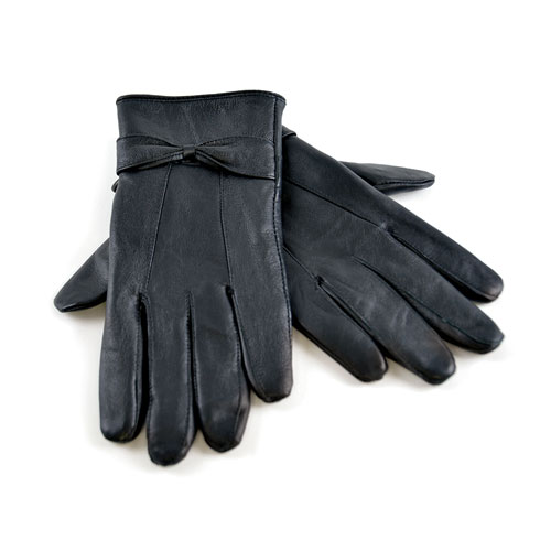 Ladies Leather Gloves With Bow Black