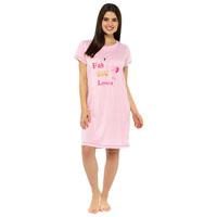 Ladies Jersey Printed Nightie Pink