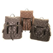 Patent Look Diamond Quilted Rucksack Bag