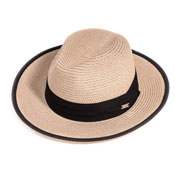 Ladies Straw Fedora Hat With Black Band/Edging