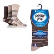 Mens Gentle Grip Broad Stripes Assorted Socks