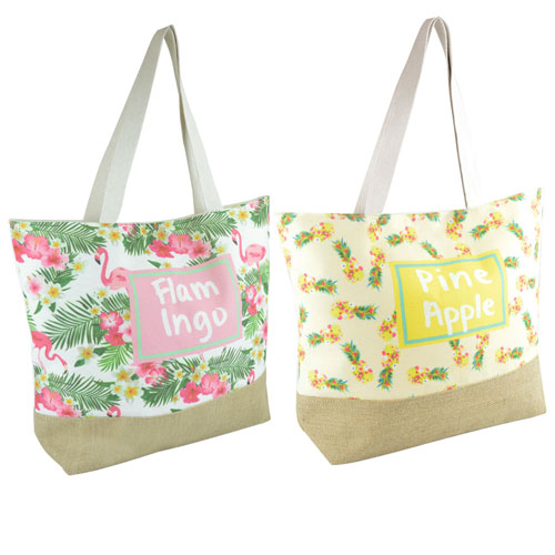 Flamingo/Pineapple Print Cotton Beach Bag