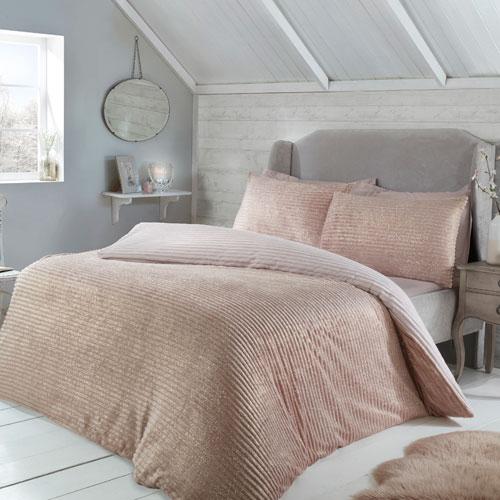 Sparkle Ribbed Fleece Duvet Set Blush