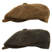 Unisex 8 Panel Tweed Flat Cap