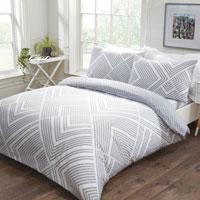 Striped Geometric Duvet Set Grey