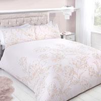 Metallic Floral Print Duvet Set Blush