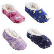 Ladies Novelty Designs Sherpa Lined Slipper Socks