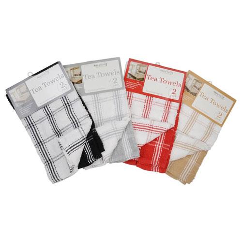 Colour Check Print Tea Towels 2 Pack