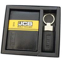 JCB Leather Wallet And Keyring Gift Set